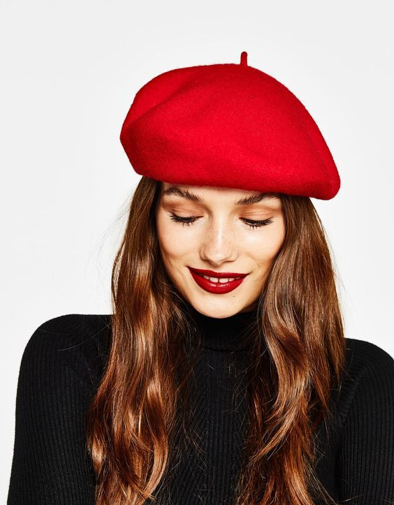 red beret and red lips