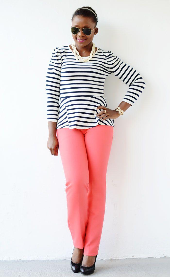 Statement Pearls :: Stripes & Coral
