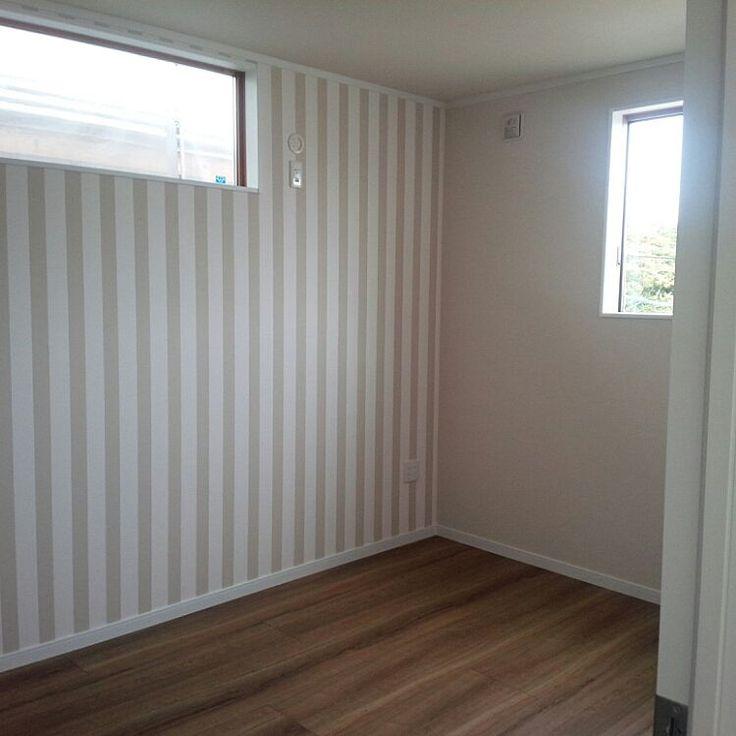 アクセントクロス/ストライプの壁/Dフロア チェリー/部屋全体のインテリア実例 - 2015-11-16 15:15:20 | RoomClip(ルームクリップ)