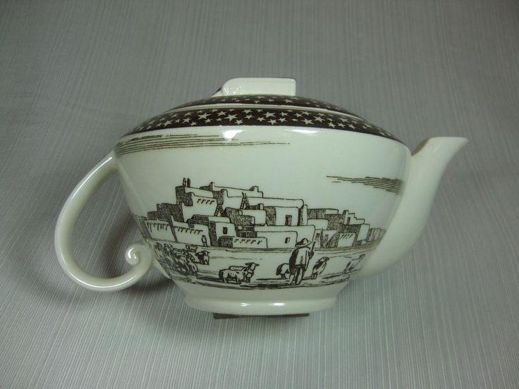Vernon Kilns Our America Teapot by Rockwell Kent Southwestern Pueblo Motif #VernonKilns