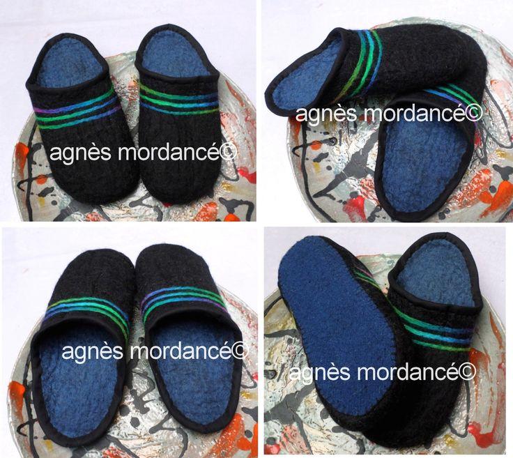 Chaussons mules homme pur feutre de laine mérinos T43 - pièce unique : Chaussures par agnes-mordance