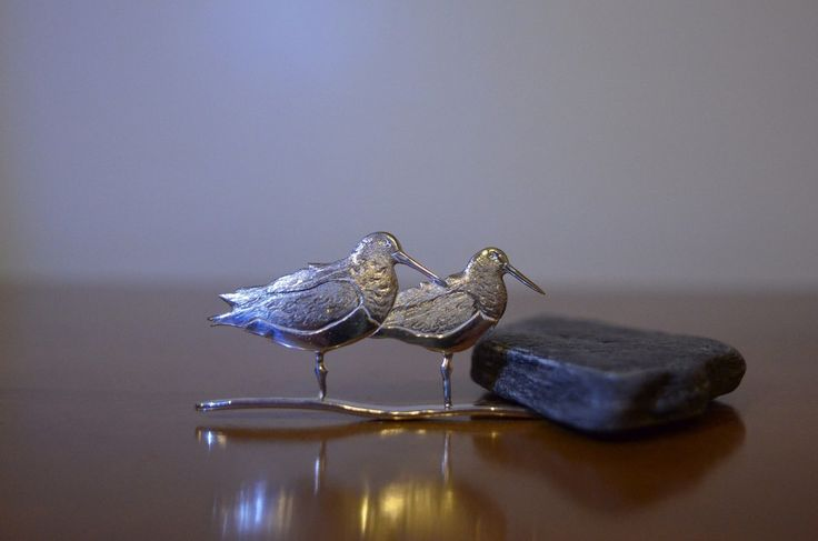 Sterling Silver Oyster Catcher pair brooch.