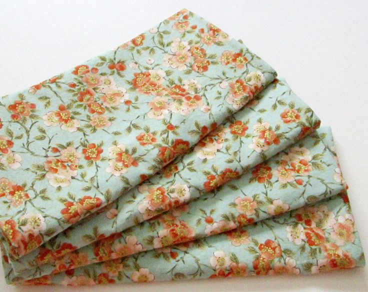 Large Cloth Napkins - Set of 4 - Coral Pink Orange Teal Blue Metallic Gold Flowers Floral  - Dinner, Table, Everyday, Wedding by ClearSkyHome on Etsy