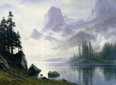 Oil Paintings Landscape Albert Bierstadt Mountain Out Of The Mist