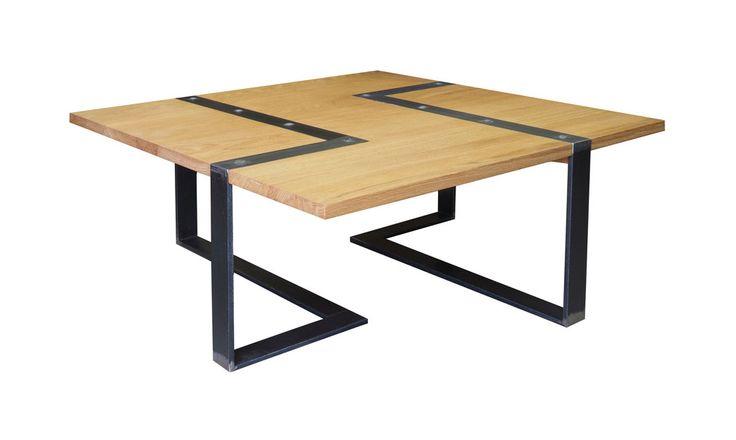 Table basse bois vieilli metal for Table basse vieilli