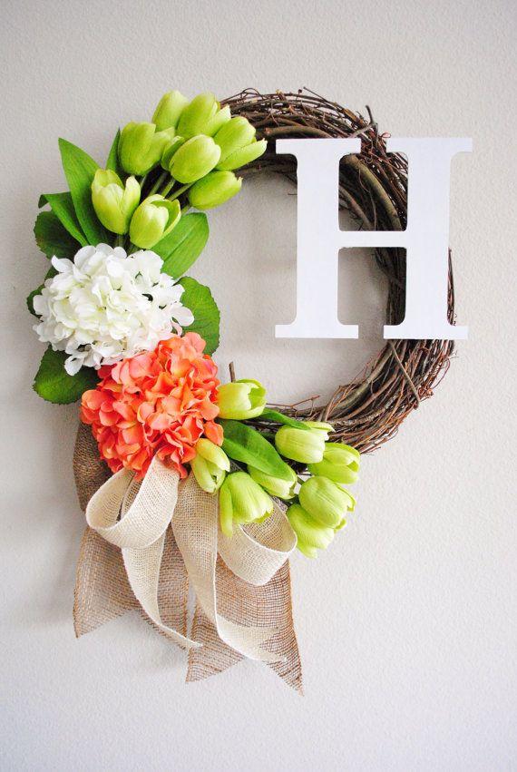 White, Light Orange Hydrangea & Light Green Tulips Monogram Grapevine Wreath with Burlap. Spring Summer Wreath. Housewarming, Mother's Day