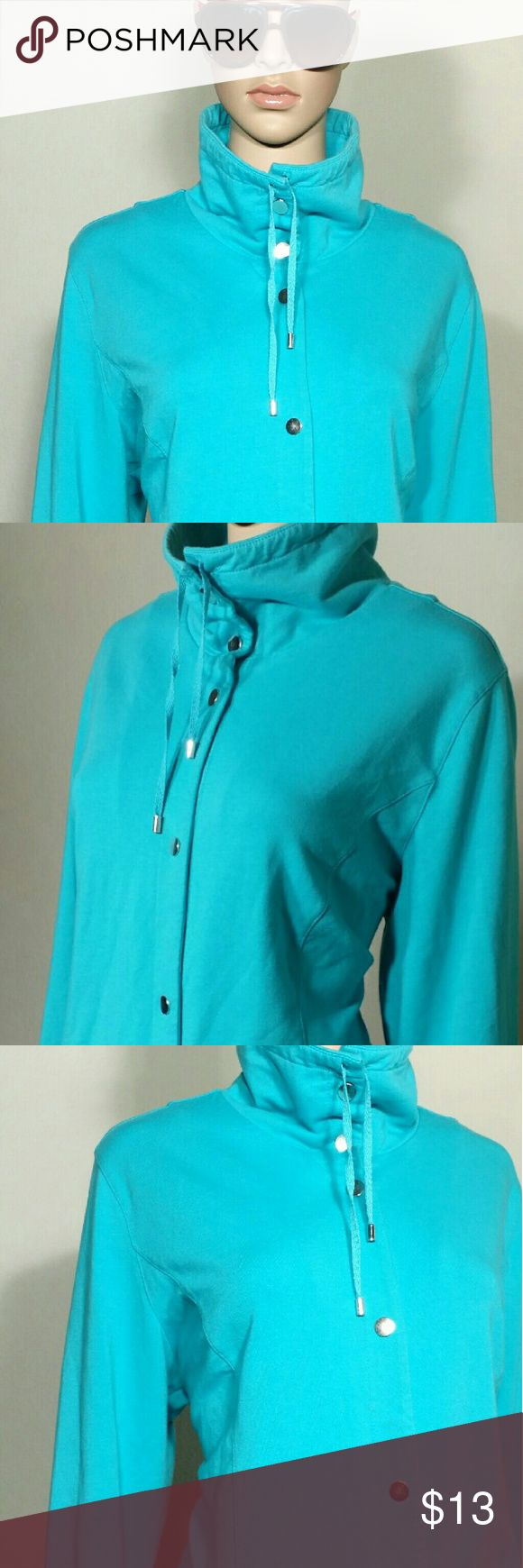 Karen Scott Sports Light Blue Full Snaps Jacket Size XL EXTRA LARGE 97% Cotton 3% Spandex In very good condition!! Very adorable!! A great gift!! Fast shipping!! Karen Scott Jackets & Coats