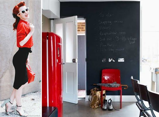 retro fashion & retro interior with SMEG.. all red