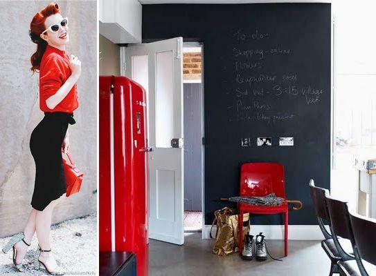 retro fashion & retro interior with SMEG.. all red