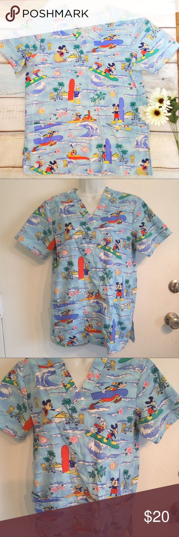 "DISNEY Tropical Aloha Hawaiian Character Scrub Top Disney healthcare uniform scrub top with  neck and pockets. Fun Mickey Mouse, Donald Duck, Goofy, Pluto, and Minnie Mouse characters surfing in a fun tropical Hawaiian background with palm trees, hibiscus flowers, hula dancers, tiki totems, and fish. Size small. Measures 20"" flat from armpit to armpit, and 27"" from shoulder to hem. No modeling. Smoke free home. I do discount bundles. Disney Tops"