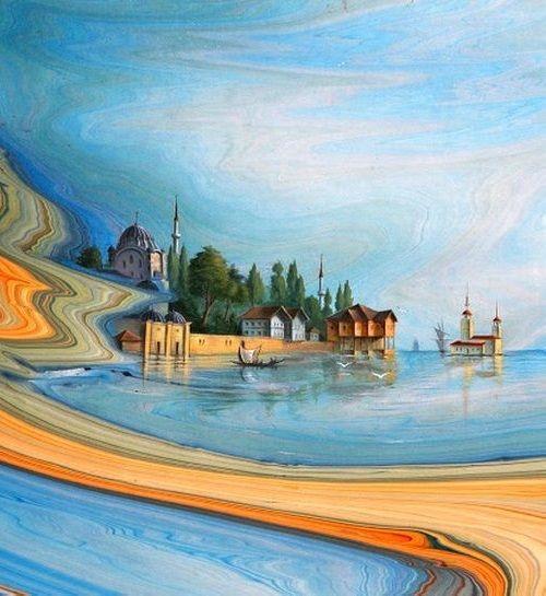 Unique Ebru art. Painting on water surface by Turkish artist Gharib Ai