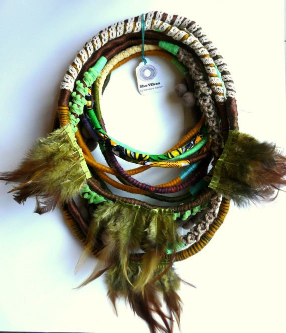 Unique/ Yarn Wrapped necklace/ Feathers/ African Style/ Street