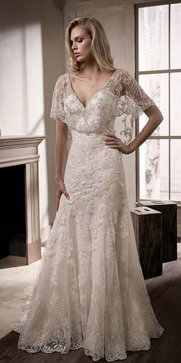 ed69551a Exquisite Tulle V-neck Neckline Cape-sleeves Sheath/Column Wedding Dress  With Lace Appliques & Beaded Embroidery