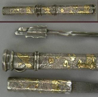 Korean Silver and Gold Dagger, 19th Century Eunjangdo