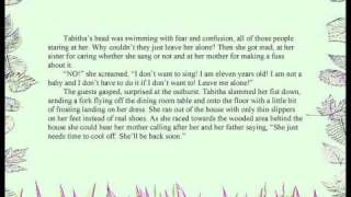Tabitha's Magical Voice is a story for young readers by author and composer, Tiffany Prochera, about a 12-year old girl named Tabitha who hates her voice until she discovers it might just be able to save a village of little people called Grenigots. This is a video of Part 1 of a 5-part audio recording of the story which is also available as an e-book from www.tiffanyprochera.com.