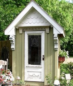 My Granny Cottage will have a cute potting shed made from reclaimed architectural salvage.