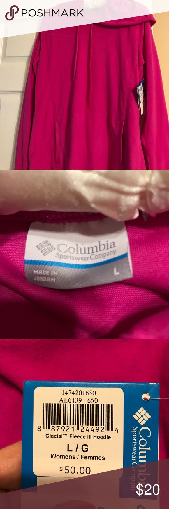 Pink Columbia Women's Pullover NWT Large The temps are getting colder and this will help. A women's pink hoodie with front pockets . Its new and the fleece is cozy and soft . Columbia Jackets & Coats