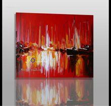 Porta vela vermelha abstrata pintura a óleo sobre tela para o quarto