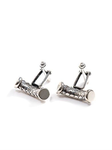 Curved cylinder silver cufflinks | #BottegaVeneta