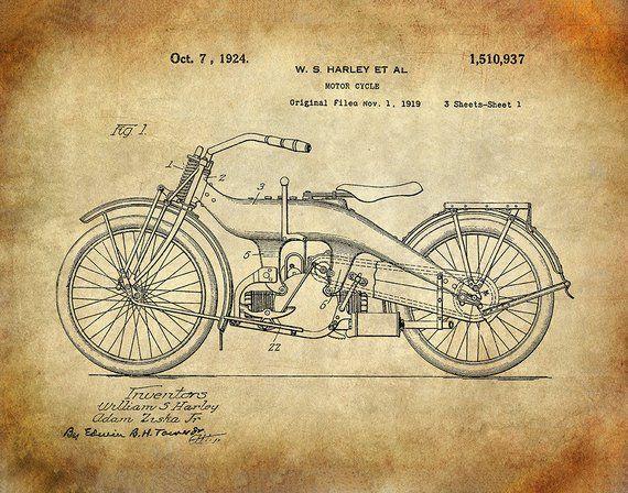5cfa6b46 Harley Davidson Motorcycle Patent Art Print - Harley Davidson Patent ...