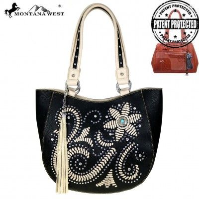 MW513G-8491 Montana West Concho Collection Concealed Handgun Collection Tote - Handbag