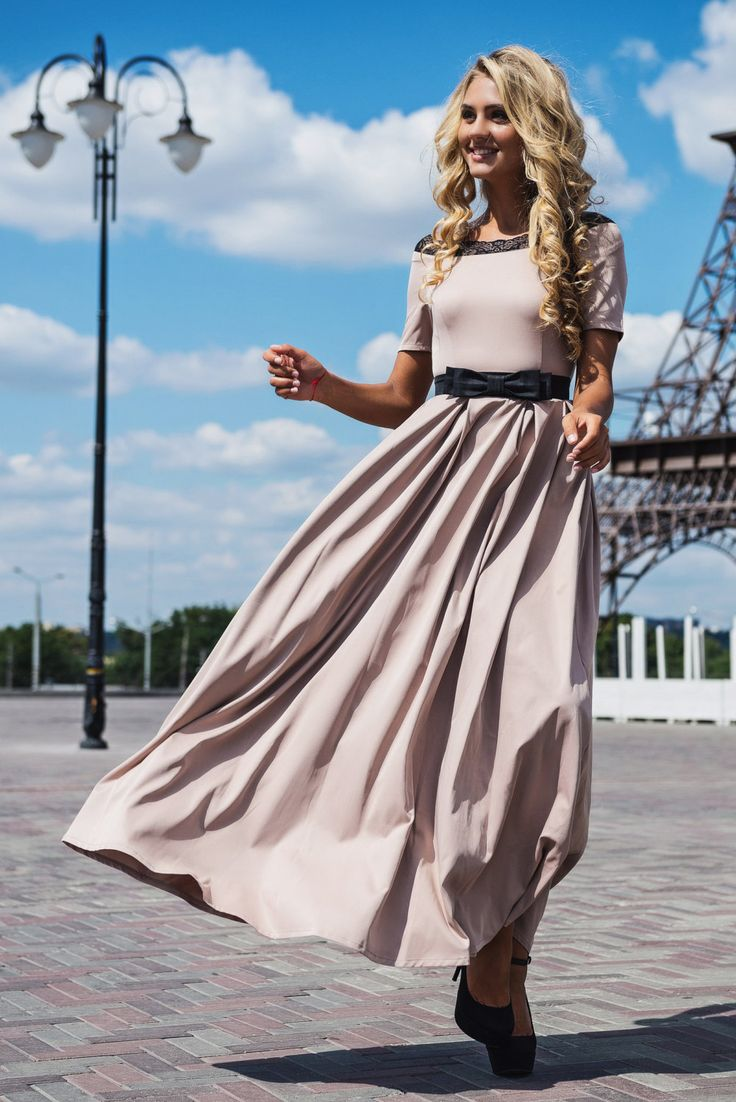 Beige maxi dress with black belt-zone Romantic maxi dress Lace dress Beige smart dress Holiday Summer dress Spring dress Autumn dress (63.00 USD) by Znaidy