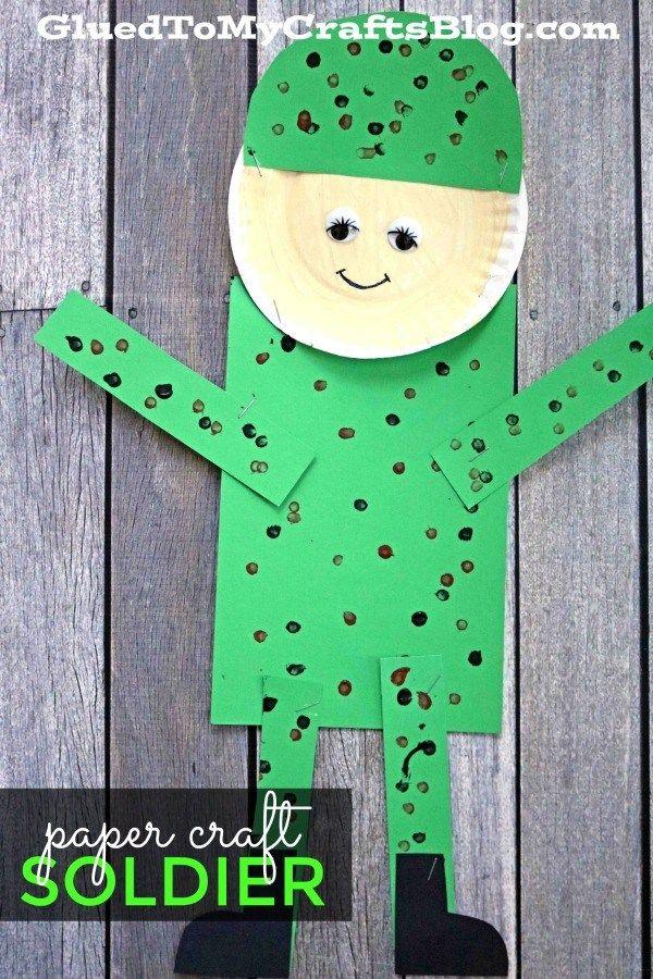 Paper Soldier Kid Craft Cute Kids Crafts Army Crafts Crafts