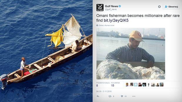 Rybak z Omanu, Khalid Al Sinani wyłowił 60 kg ambry, czyli wymiocin wieloryba, wykorzystywanych do produkcji perfum. Dzięki temu połowowi został milionerem.