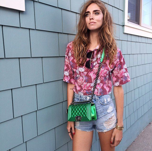 Pin for Later: The Fashion Girl's Secret to Dressing Up Denim Shorts Style With Contrasting Colors