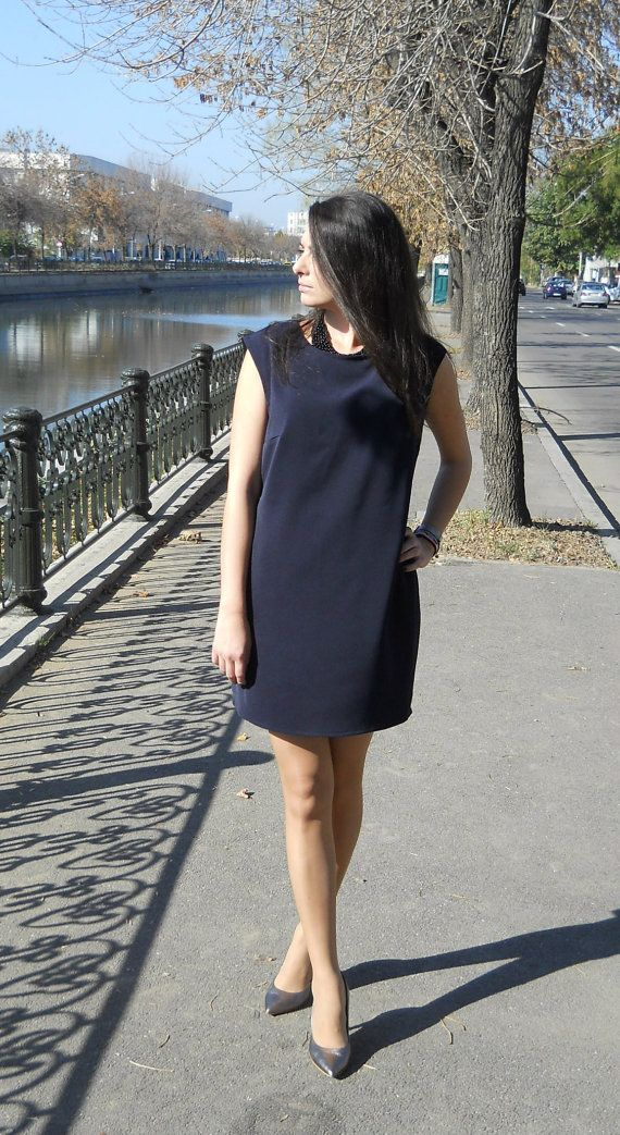 Dark Blue Viscose Mini Dress Women Dress Made by PrincipessaLabel, $55.00
