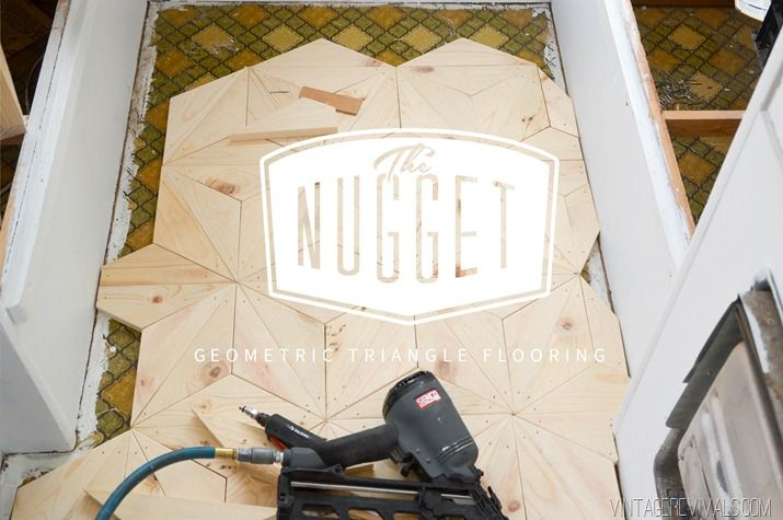The Nugget: DIY Geometric Wood Flooring for $80! - Vintage Revivals  Amazing hardwood floor on the cheap!