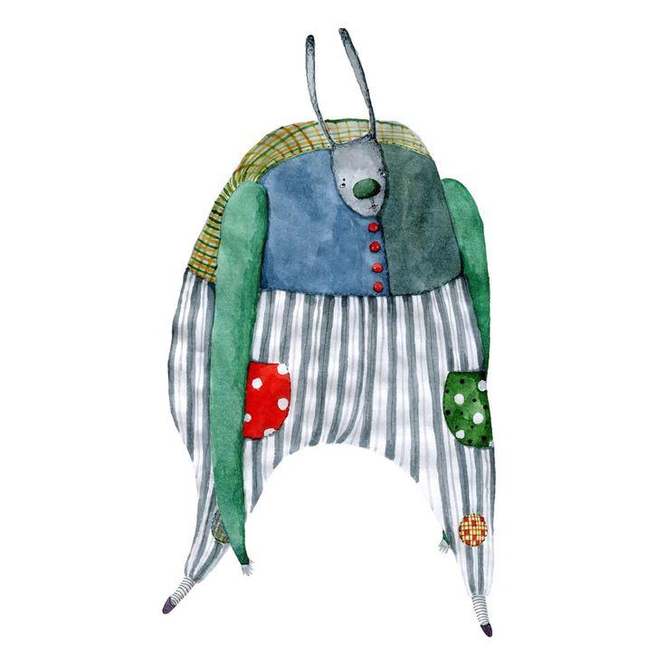 Шагающий цирковой заяц. Акварель, бумага. Автор @shyshytoys