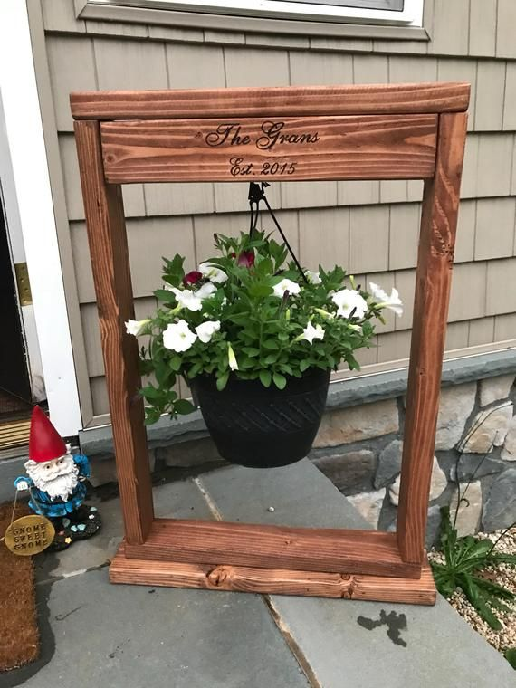 Plant Holder Hanging Basket Plant Holder Wood Plant Stand Etsy In 2020 Plants For Hanging Baskets Wood Plant Stand Plant Holders