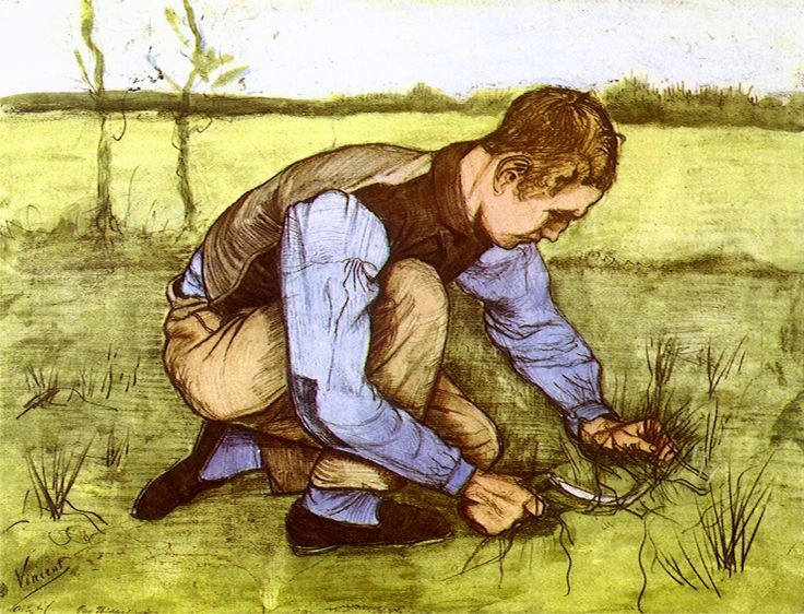 Boy cutting grass with a Sickle - circa 1881 - Vincent van Gogh - WikiPaintings.org <3