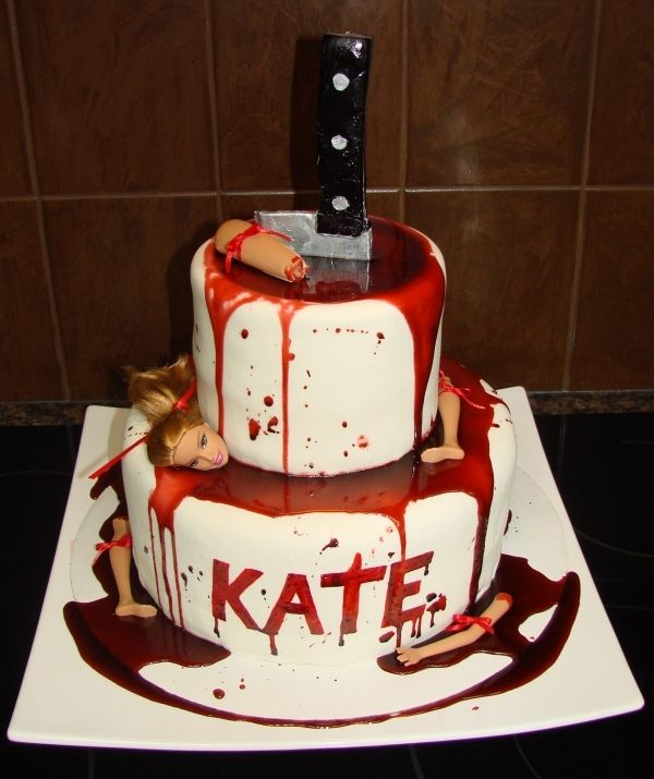 dexter theme french vanilla cake with white chocolate swiss buttercream filling fondant hand painted lettering red gel gum paste knife - Easy To Make Halloween Cakes