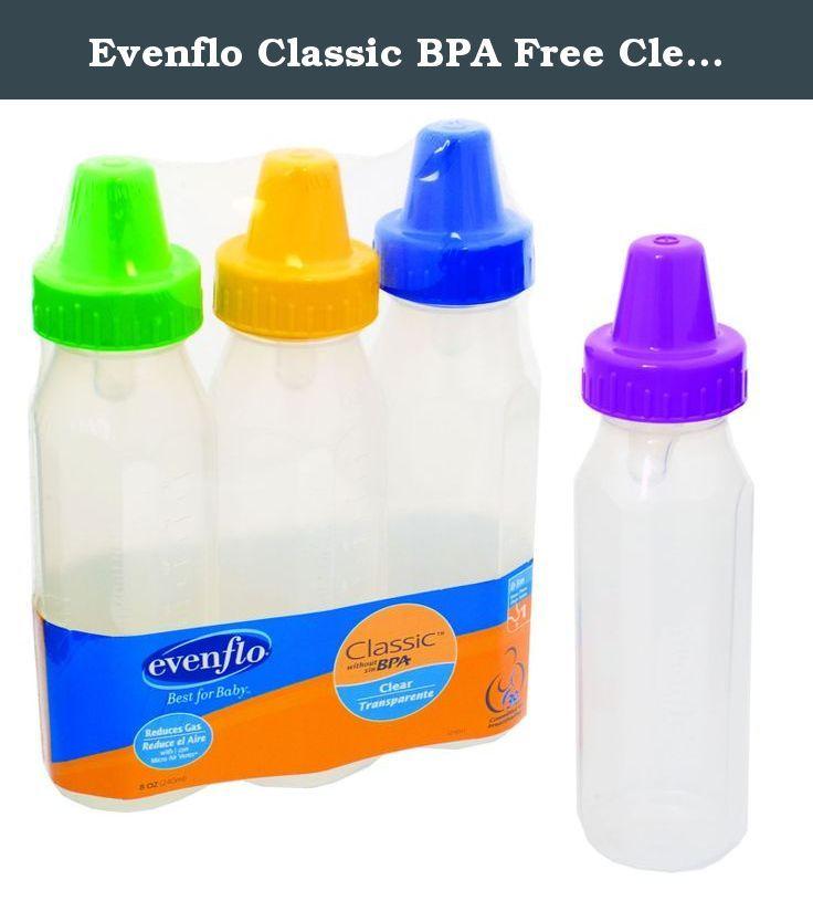 Evenflo classic bpa free clear bottle 8 oz 3 pk girl