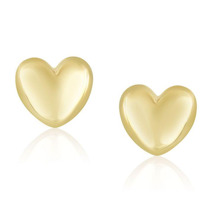 14K Yellow Gold Puffed Heart Shape Shiny Earrings