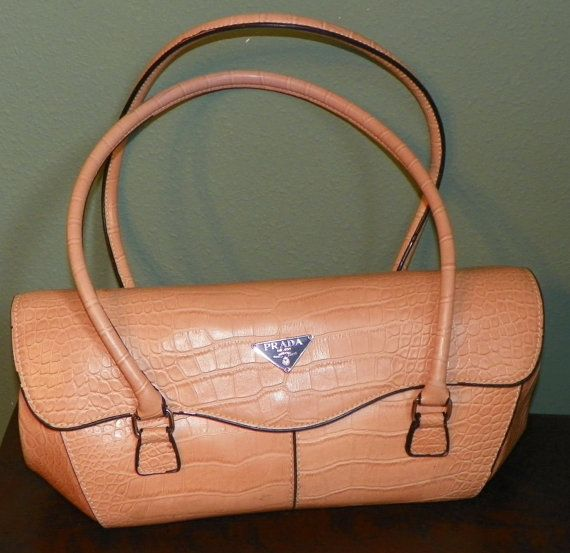 Vintage Prada Crocodile Alligator Purse bag Shoulder Double Handle ...