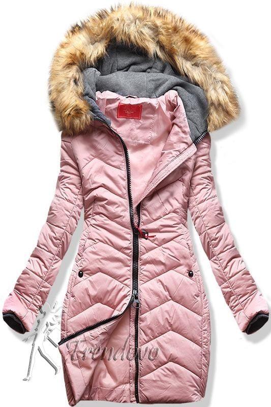 Ružová zimná prešívaná bunda