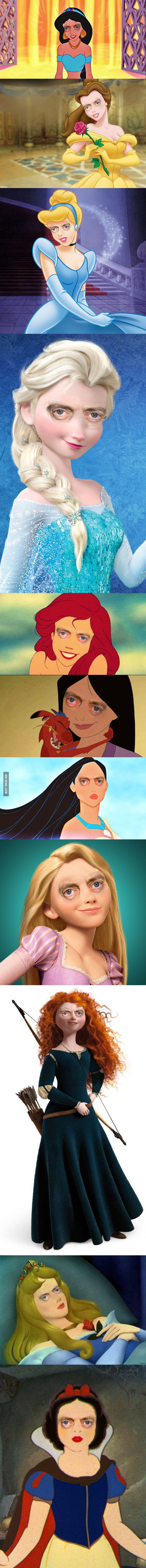 Disney Princesses with Steve Buscemi's Eyes - 9GAG