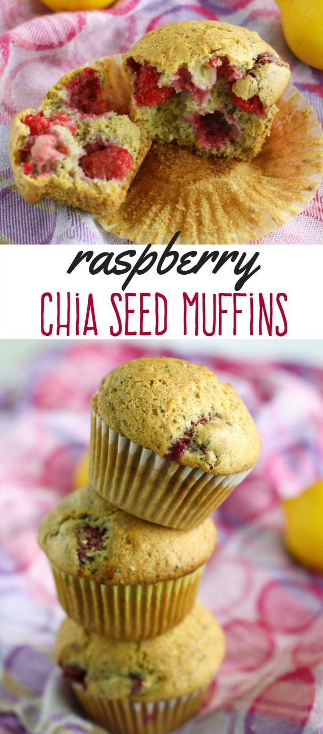 These delectable raspberry muffins are a great way to get some chia seeds in your diet! Healthy and delicious, perfect for breakfast or a snack! #chiaseeds