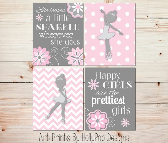 Girls Room Decor Kids Room Decor Girl Nursery Art Baby Room Artwork Pink Gray Nursery Decor Ballerina Art She Leaves A Little Sparkle 1016