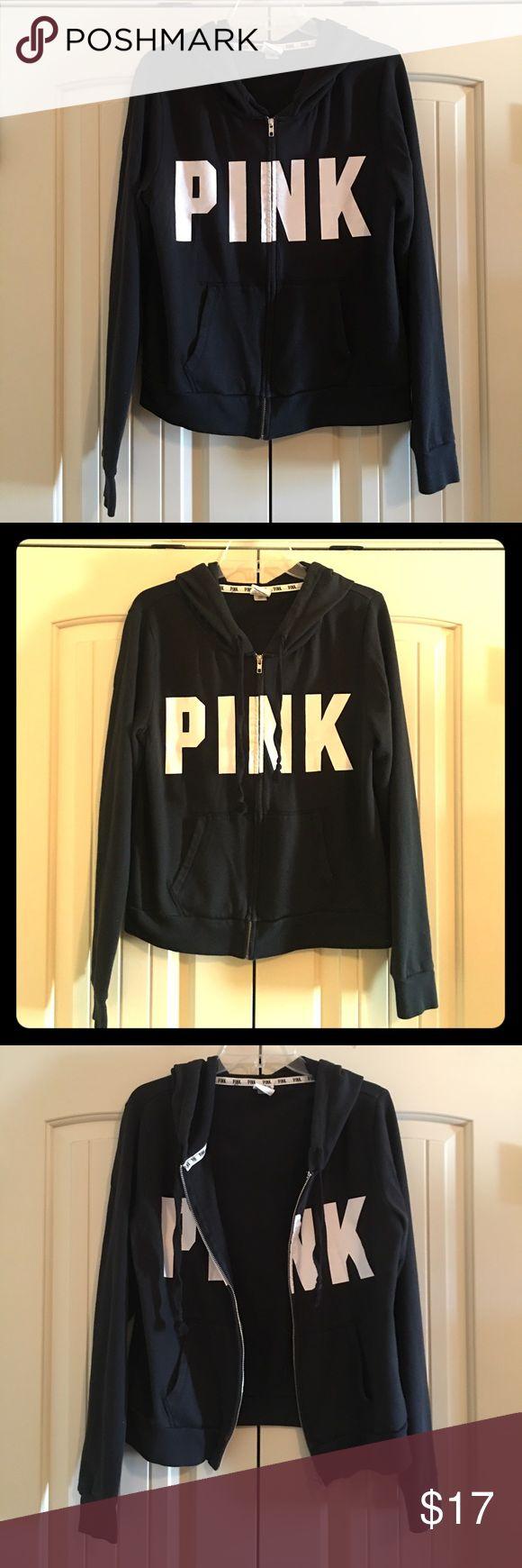 PINK Victoria's Secret zip up hoodie sweatshirt PINK Victoria's Secret black zip up hoodie sweatshirt. EUC! Size Large. PINK Victoria's Secret Tops Sweatshirts & Hoodies