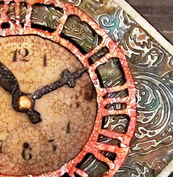 Altered Art Projects   My Altered Art Projects / Metal Foil Embossed Clock