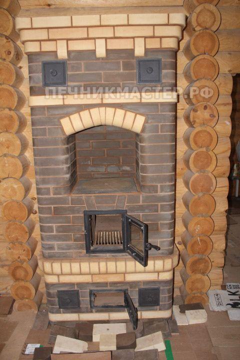 Каминопечь двухэтажная Роскошная 1-й этаж со стороны плиты