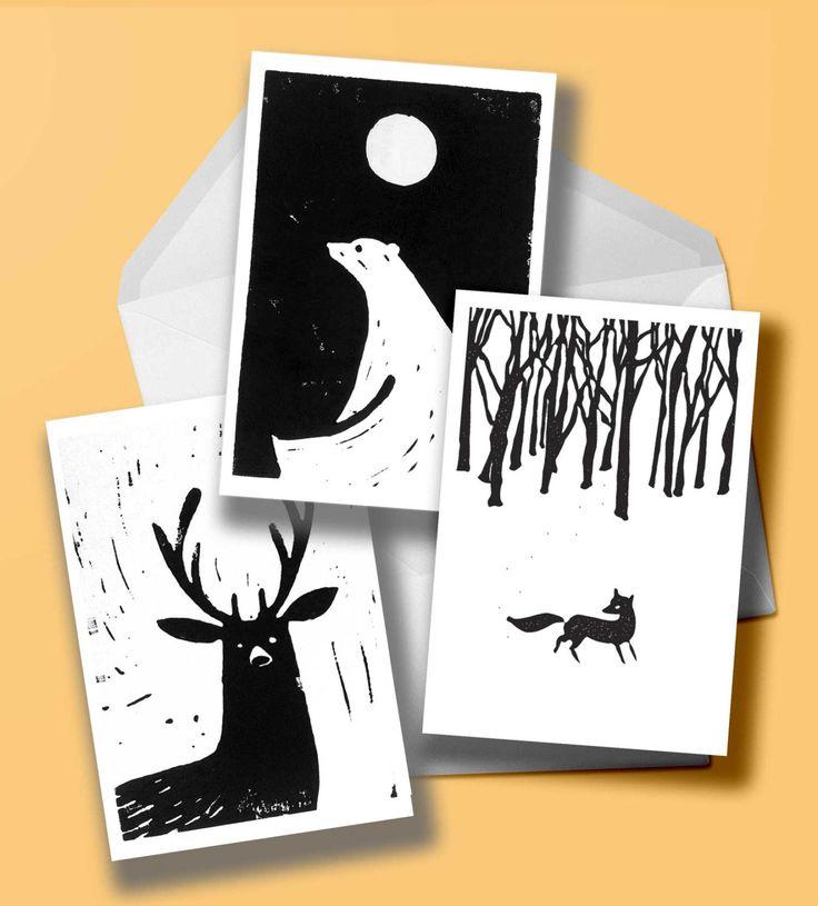 Set of 3 original lino-cut christmas cards (animals) by samuelhorwooddesign on Etsy