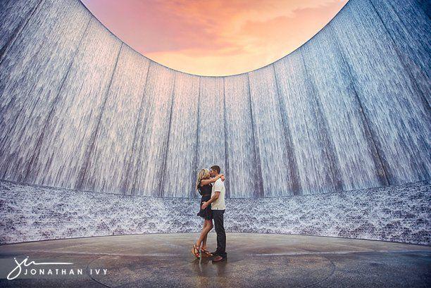 Houston Waterwall Engagement Photo By Www Jonathanivyphoto