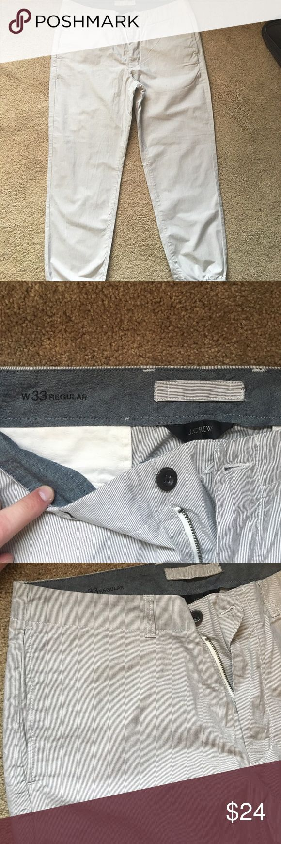 Men's JCrew chino joggers Men's chino joggers, grey stripe. never worn. Waist: 33. J. Crew Pants Sweatpants & Joggers