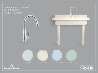 Kohler Products   Cruettekitchen faucet   Harborview utility sink     Benjamin Moore Paint   Iceberg   Cloud Cover   Breath of Fresh Air   Palladian Blue    All the right ingredients for a kitchen that surrounds you with the cool comfort of a seaside cottage.