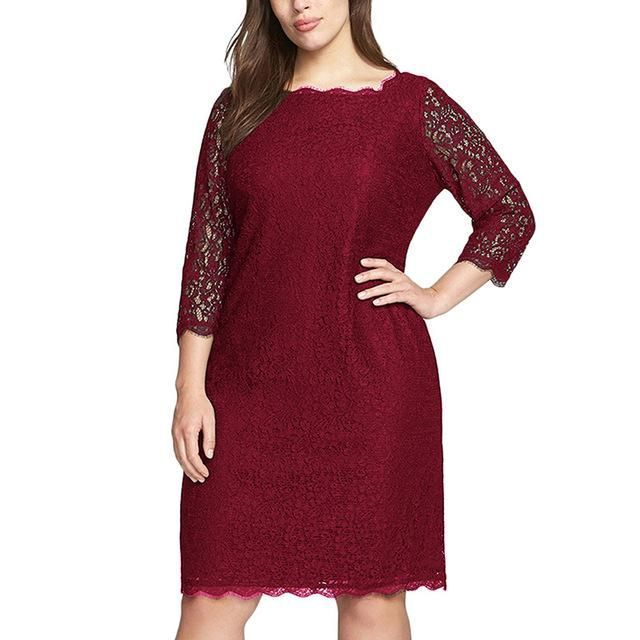 Women Summer Sleeve Retro Stretchy Knee Length Cocktail Bodycon Dress Casual Party Plus Size Lace Dress #dressescasualcocktail